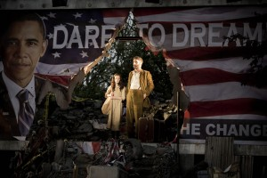 Lila Heller (Little Girl) and John Marquez (Tateh) in Ragtime at Regents Park Open Air Theatre