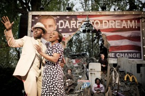 Rolan Bell (Coalhouse Walker) and Claudia Kariuki (Sarah) in Ragtime at Regents Park Open Air Theatre (Photo by Johan Persson)