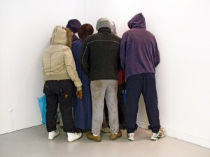 It Happened In The Corner… (2007) by littlewhitehead Plaster, wax, foam, hair, clothes 180 x 200 x 150cm (approx) Courtesy of Sumarria Lunn Gallery