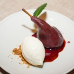 Wine Poached Pear With Bay Leaf Ice Cream