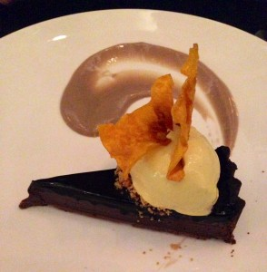 Salted choc tart with butternut ice cream