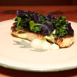 CAULIFLOWER STEAK, PURE?E AND LEAVES,  BROWN BUTTER 2