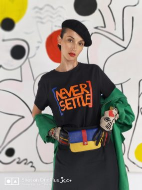Never Settle T-shirt and Belt Bag at the launch of The Callection