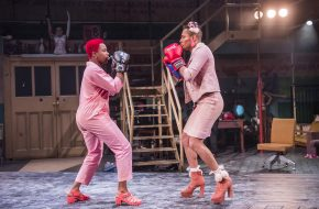 Temi Wilkey (Mad and Max) and Travis Alabanza (Amyl Nitrate) in Jubilee at Lyric Hammersmith. Photos by Tristram Kenton.